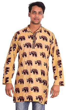 7cb8f5f0c86b0 Lakkar Havali 100% Cotton Indian Men s Kurta Shirt Tunic Yellow Color Plus  Size Elephant Print