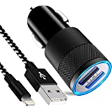 カーチャージャー SGIN 24W 4.8A USB 2ポート 車載充電器 急速充電 付きライトニング ケーブル 1M iPhone X/iPhone 8/iPhone 7/6/SE/iPad/iPod対応 - 黒と白
