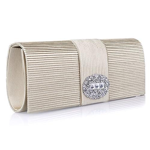 16d3c9264d5cb Ladies Designer Pleated Satin Wedding Evening Bags Formal Clutch Purse  Crystal Evening Handbag for Women (