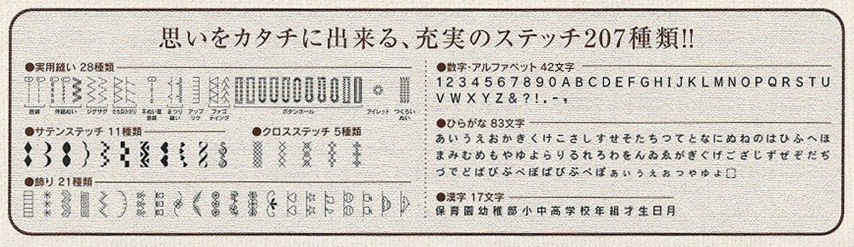 207種類のステッチができるコンピューターミシン