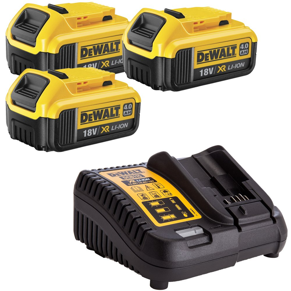 DeWalt Genuine 3 x DCB182 Li-on 4.0Ah Battery DCB115 10.8V-18V Li-Ion Charger