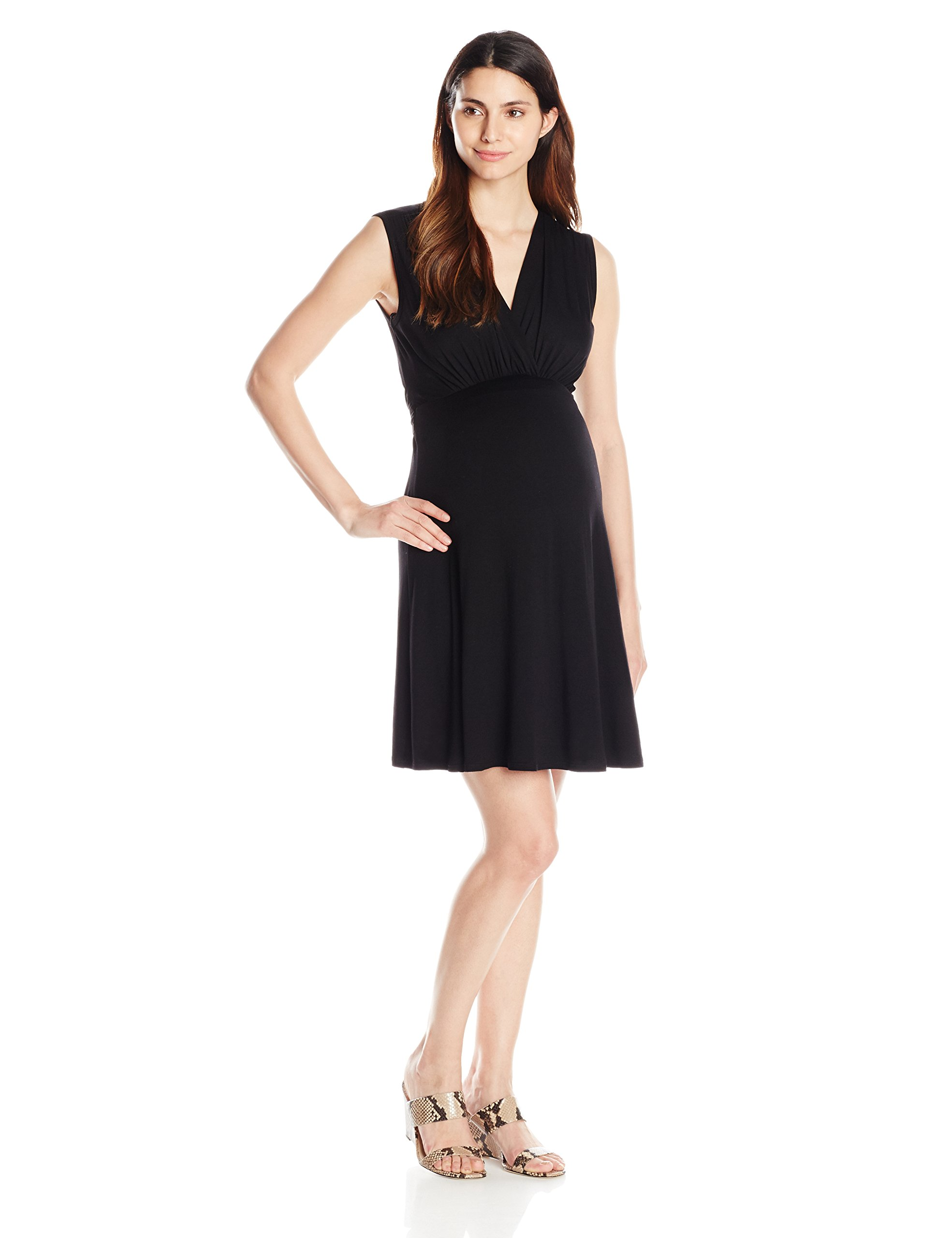 Maternal America Women's Maternity Mini Sleeveless Front Tie Dress, Black, Large by Maternal America