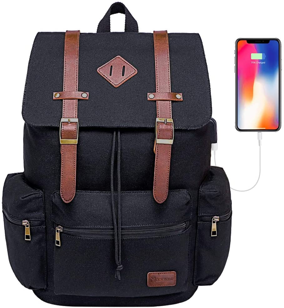 Modoker Vintage Rucksack Backpack for Men Women, Durable Canvas Leather Laptop Backpack College Bag School Bookbag with USB Charging Port, Black Fashion Vegan Travel Daypack