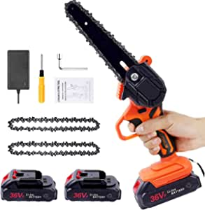Mini Chainsaw 6-Inch Power Chain Saws, 36V Portable one-Hand Cordless Battery Chainsaws for Tree Trimming and Branch Wood Cutting (Incl. 2x Battery,2x Chain)