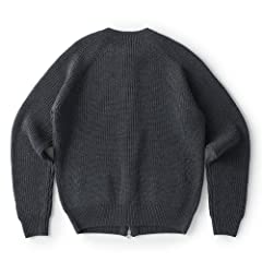Sloane Wool Rib Full-Zip Crewneck Sweater: Grey