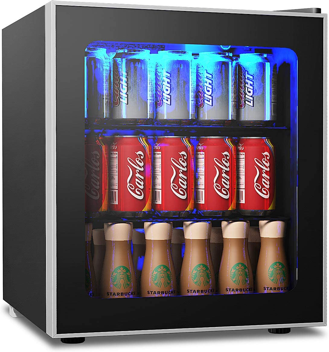 Costway Beverage Refrigerator And Cooler 62 Cans Capacity Mini Drink Fridge With Led Light Adjustable Thermostat Glass Door Removable Shelves For Soda Beer Or Wine For Office Bar 1 6 Cu