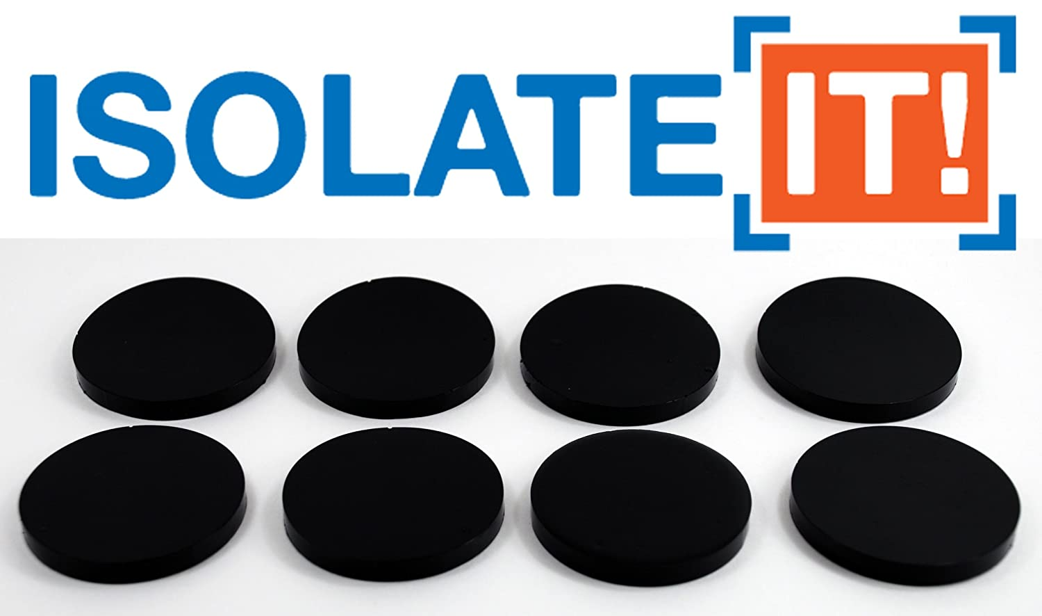 "Isolate It: Sorbothane Vibration Isolation Circular Pad 50 Duro (.25"" Thick 2.25"" Dia.) - 8 Pack"