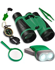 UTTORA Kids Binoculars Toy Set, Outdoor Exploration Set, Best for 3 4 5 6-12 Year Old Boy and Girl, Kids Telescope Adventure Kit, Children Outdoor Educational Kit (GREEN)