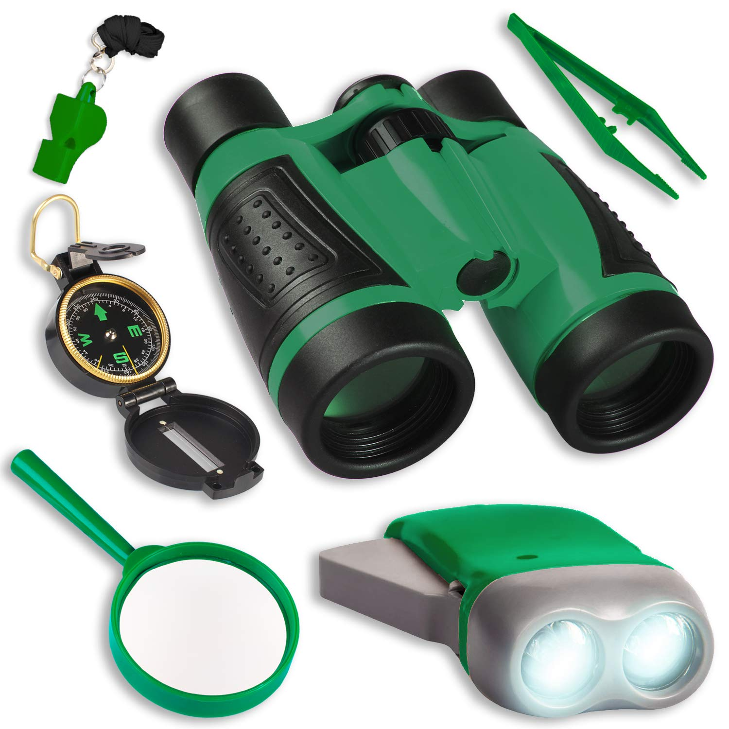 UTTORA Kids Binoculars Toy Set,Outdoor Explorer Kit Children's Adventure Toy with Compass Magnifying Glass Bug Collector, Great Educational Camping Hiking Gift for Boys and Girls (7pcs)