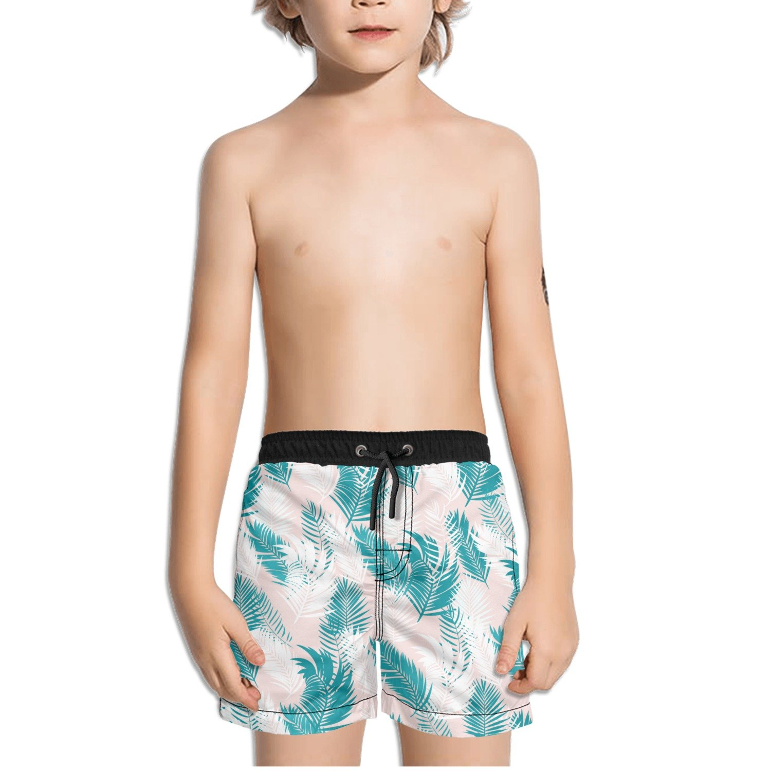 FullBo Green Tropical Palm Leaves in Pink Little Boy's Short Swim Trunks Quick Dry Beach Shorts