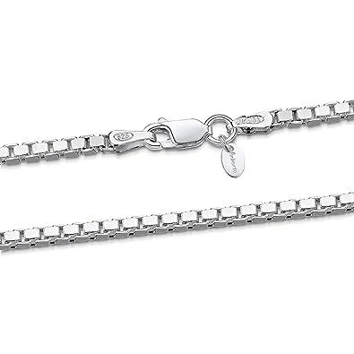 0b2c5e4732d3 Amberta® Joyería - Collar - Fina Plata De Ley 925 - Cadena de Eslabón  Cuadrado