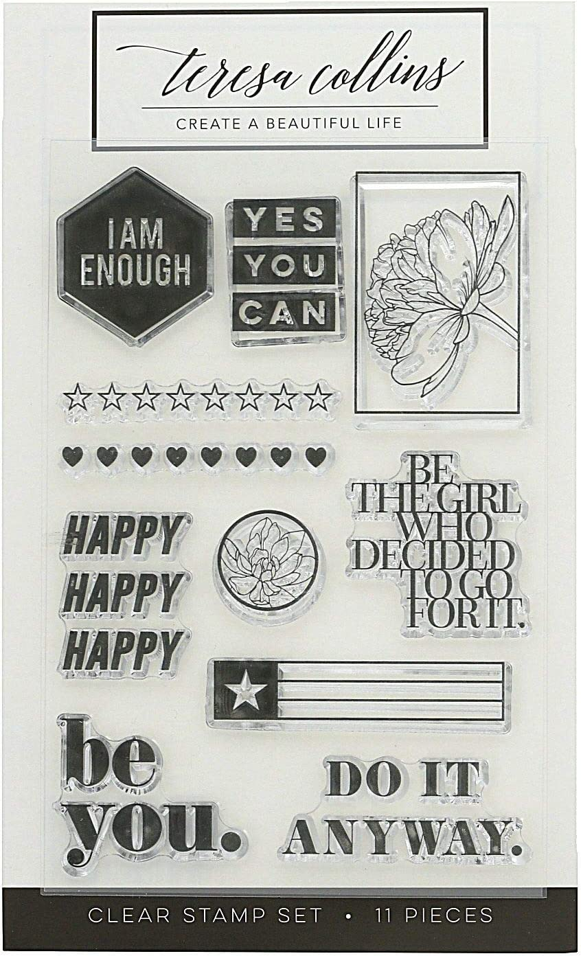 Teresa Collins, Clear Resin Stamp Set - I am Enough, 11 Stamps
