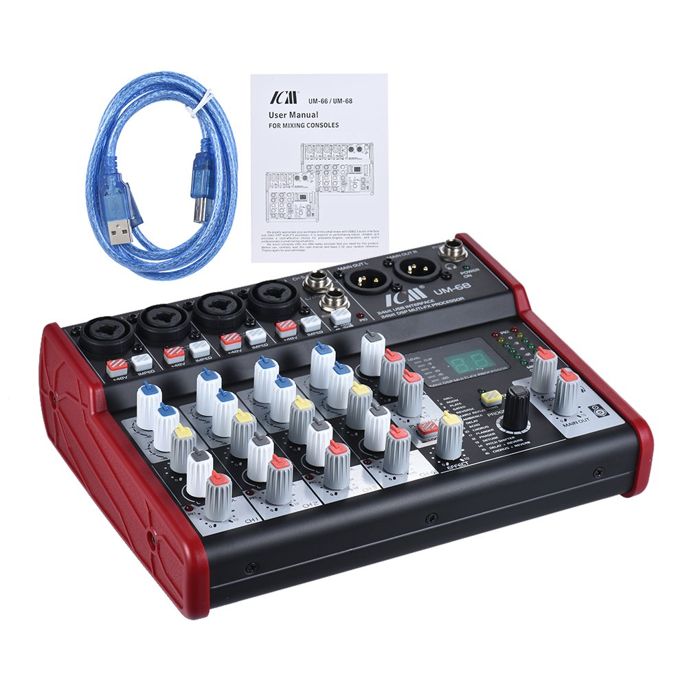 ammoon UM-68 Portable 6-Channel Sound Card Mixing Console Mixer Built-in 16 Effects with USB Audio Interface Supports 5V Power Bank for Recording DJ Network Live Broadcast Karaoke