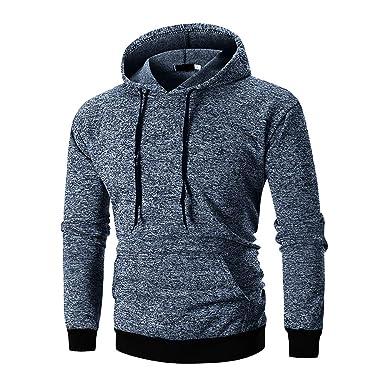 a240bddf11de0 Veravant Homme Sweat A Capuche Uni Sweatshirt Manches Longues Gris Bleu   Amazon.fr  Vêtements et accessoires