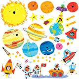 Decowall DW-1707 Planets and Space Kids Wall Stickers Wall Decals Peel and Stick Removable Wall Stickers for Kids Nursery Bedroom Living Room (Medium)