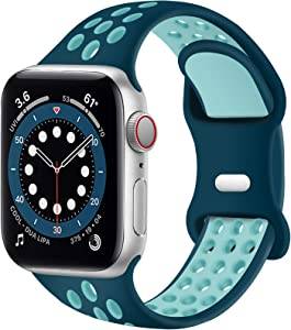 SVISVIPA Sport Bands Compatible for Apple Watch Bands 42mm 44mm,Breathable Soft Silicone Sport Women Men Replacement Strap Compatible with iWatch Series SE/6/5/4/3/2/1,Turquoise Green