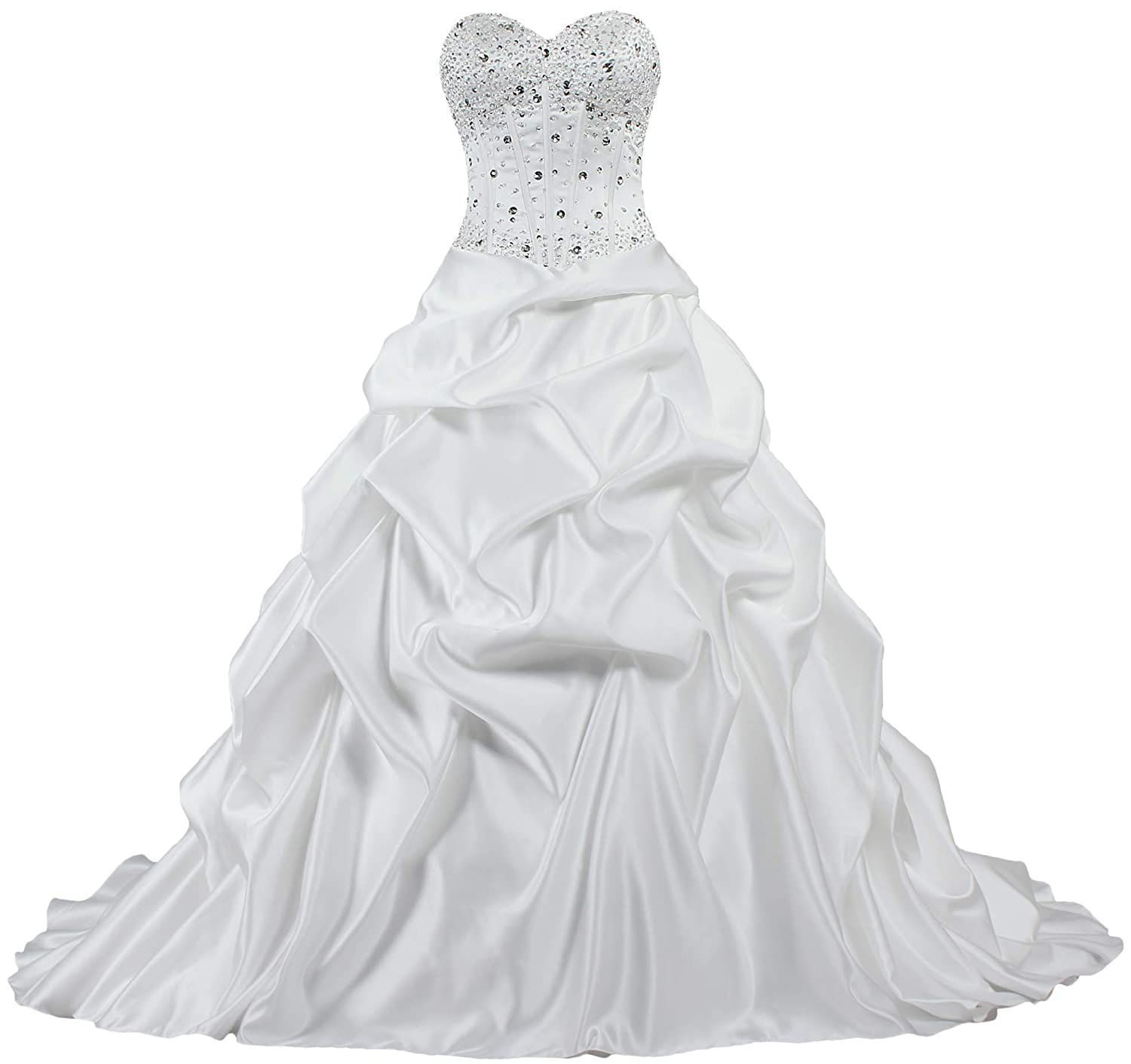 Ivory ANTS Women's Strapless Bead Ruched Satin Wedding Dresses for Bride