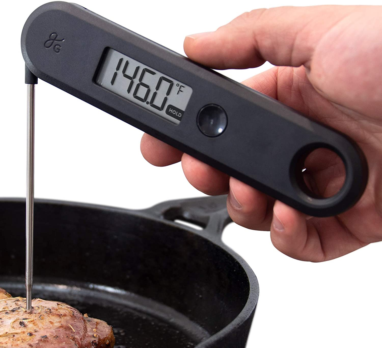 GreaterGoods Digital Food Meat Thermometer, Food Grade Kitchen Tool used with Foods like Bread, Meats, Candy, Oil, BBQ Grill, and more (Dark Grey)