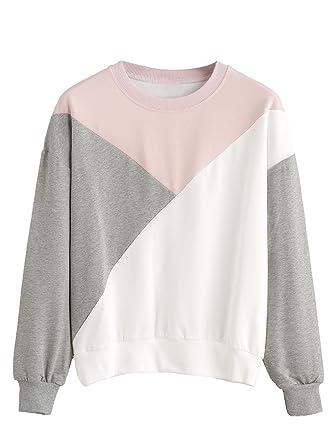 bfe67d308c1635 ROMWE Damen Sweatshirt mit Kontrastfarbigen Details Kurz Pullover  Einheitsgröße