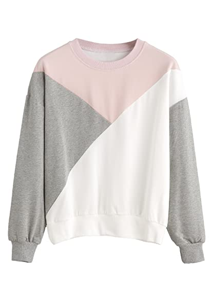 ROMWE Sweat Femme Pull col Rond Manches Longues Tricolore