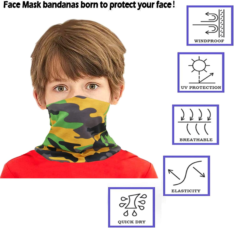 Congralala 6 Pieces Kid Face Mask Camo Kids Face Scarf Kids Neck Gaiter Sun UV Protection Mask Boys Girls Bandana
