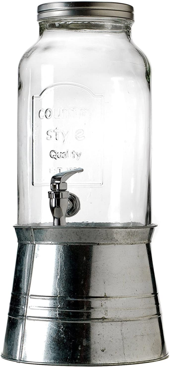 Circleware Country Glass Beverage Drink Dispenser with Metal Base, 1.5 gallon, Clear