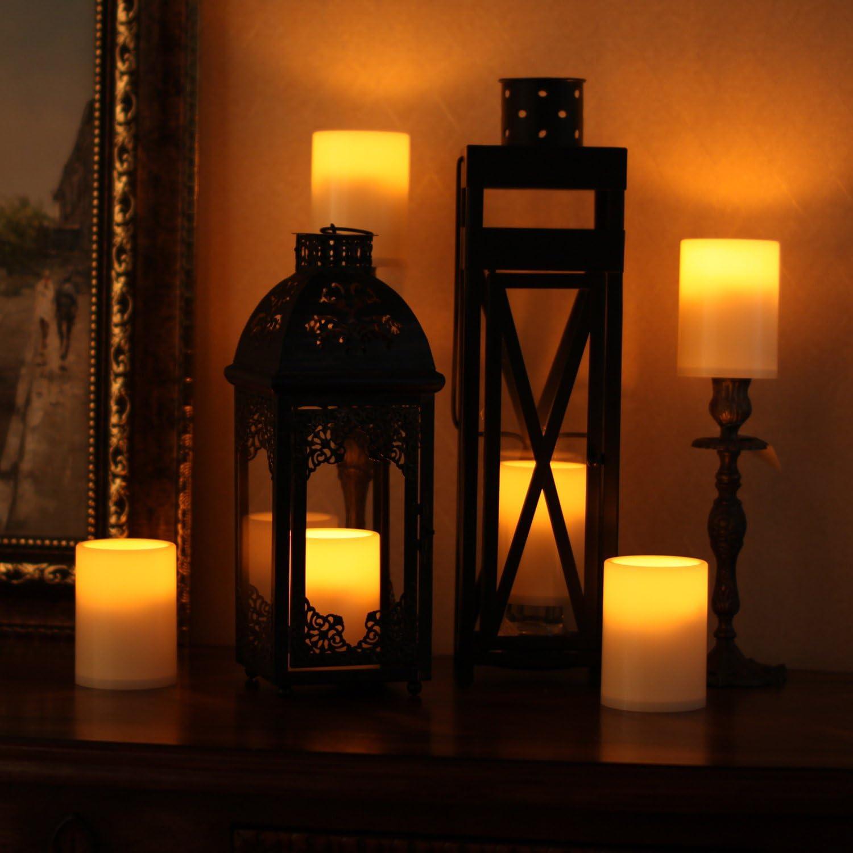 3/x 4/pulgadas sin Llama Pilar velas LED con temporizador Marfil Home Decoraci/ón para Habitaci/ón funciona con bater/ía Home Impressions de pl/ástico vela de LED