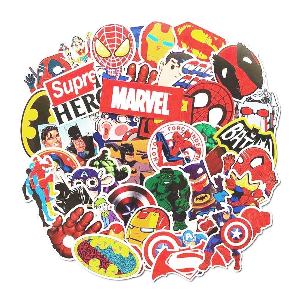 Marvel dc decal stickers 50 pcs laptop sticker waterproof vinyl stickers car sticker motorcycle bicycle luggage decal graffiti patches skateboard stickers