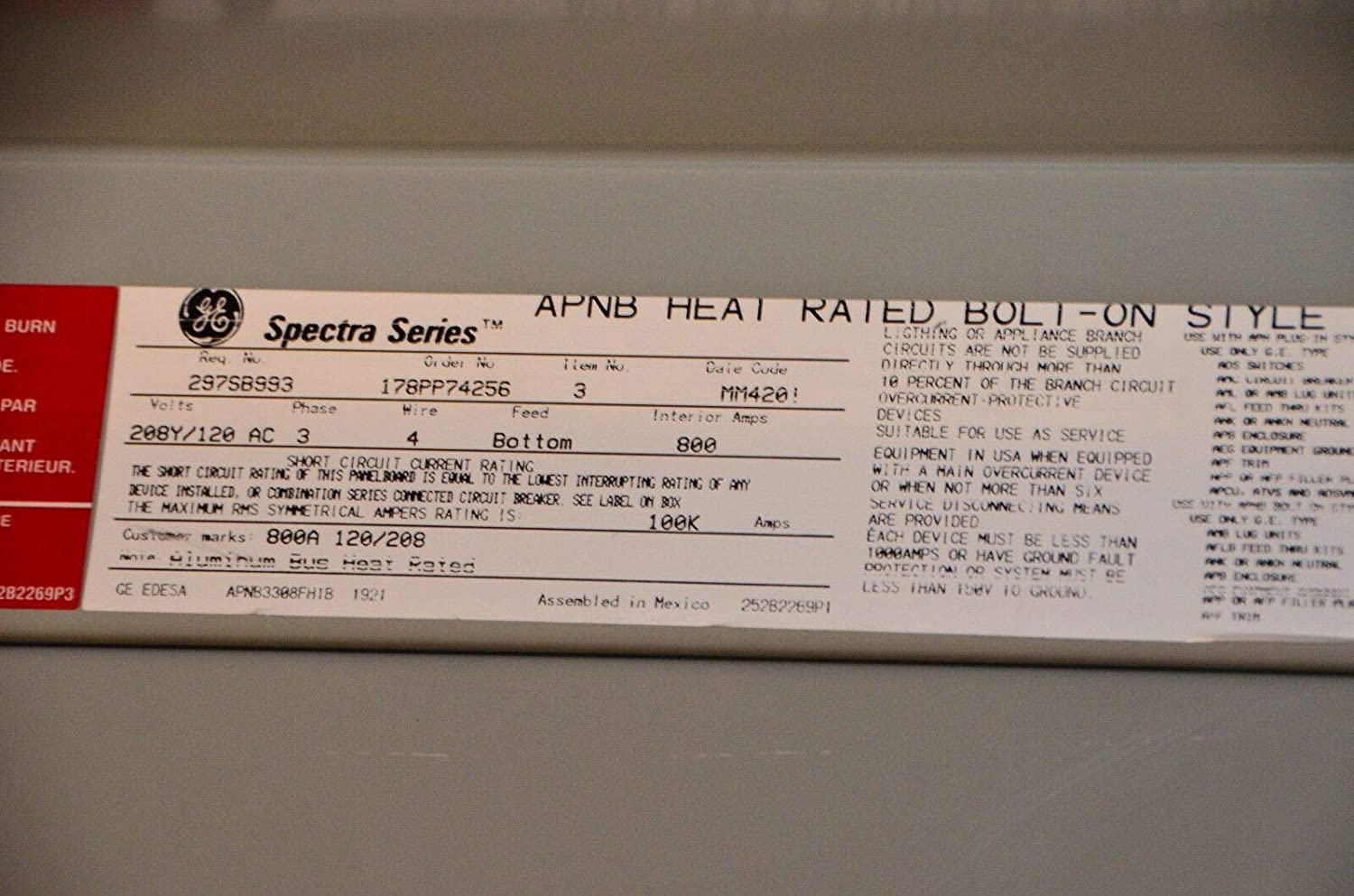 GE Spectra Series APNB Heat Rated Bolt-On Powered Panelboard
