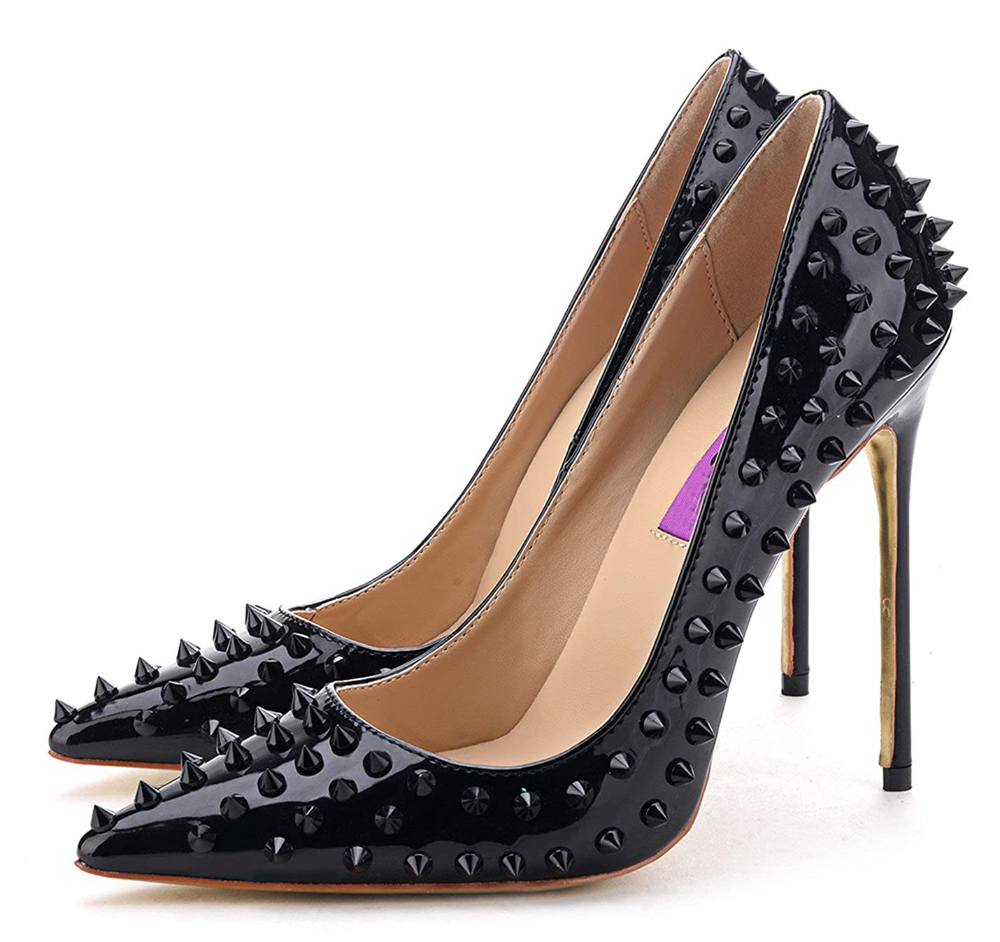 2ce892e71da Amazon.com | Jiu du Women's High Heel for Wedding Party Pumps Fashion Rivet  Studded Stiletto Pointed Toe Dress Shoes | Pumps