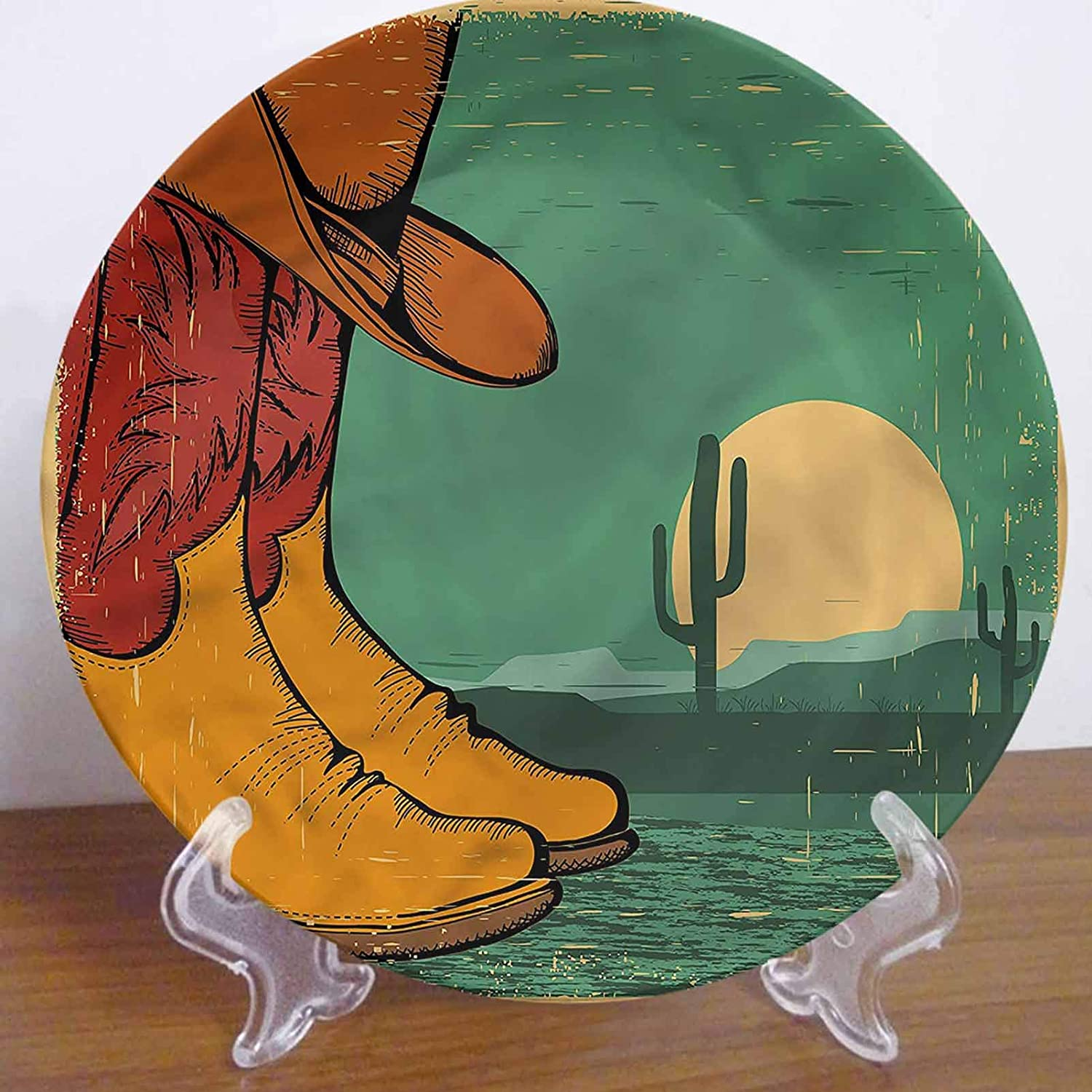 LCGGDB 6 Inch Western Pattern Ceramic Decorative Plate,Desert Landscape Boots Hat Tableware Plate Decor Accessory for Pasta, Salad,Party Kitchen Home Decor