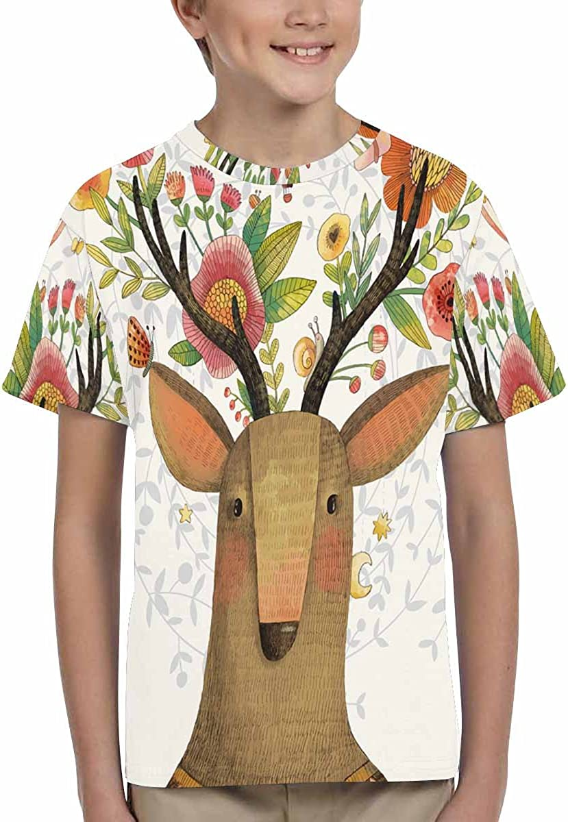 XS-XL INTERESTPRINT Deer with Flowers Childs T-Shirt