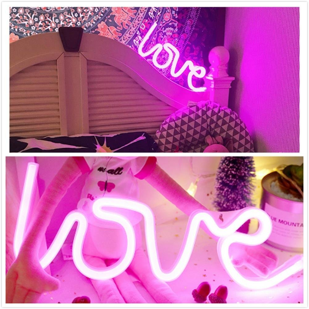 Neon Love Signs Light 13.70'' Large LED Love Art Decorative Marquee Sign - Wall Decor/Table Decor for Wedding Party Kids Room Living Room House Bar Pub Hotel Beach Recreational (Purple Pink) by QiaoFei (Image #4)