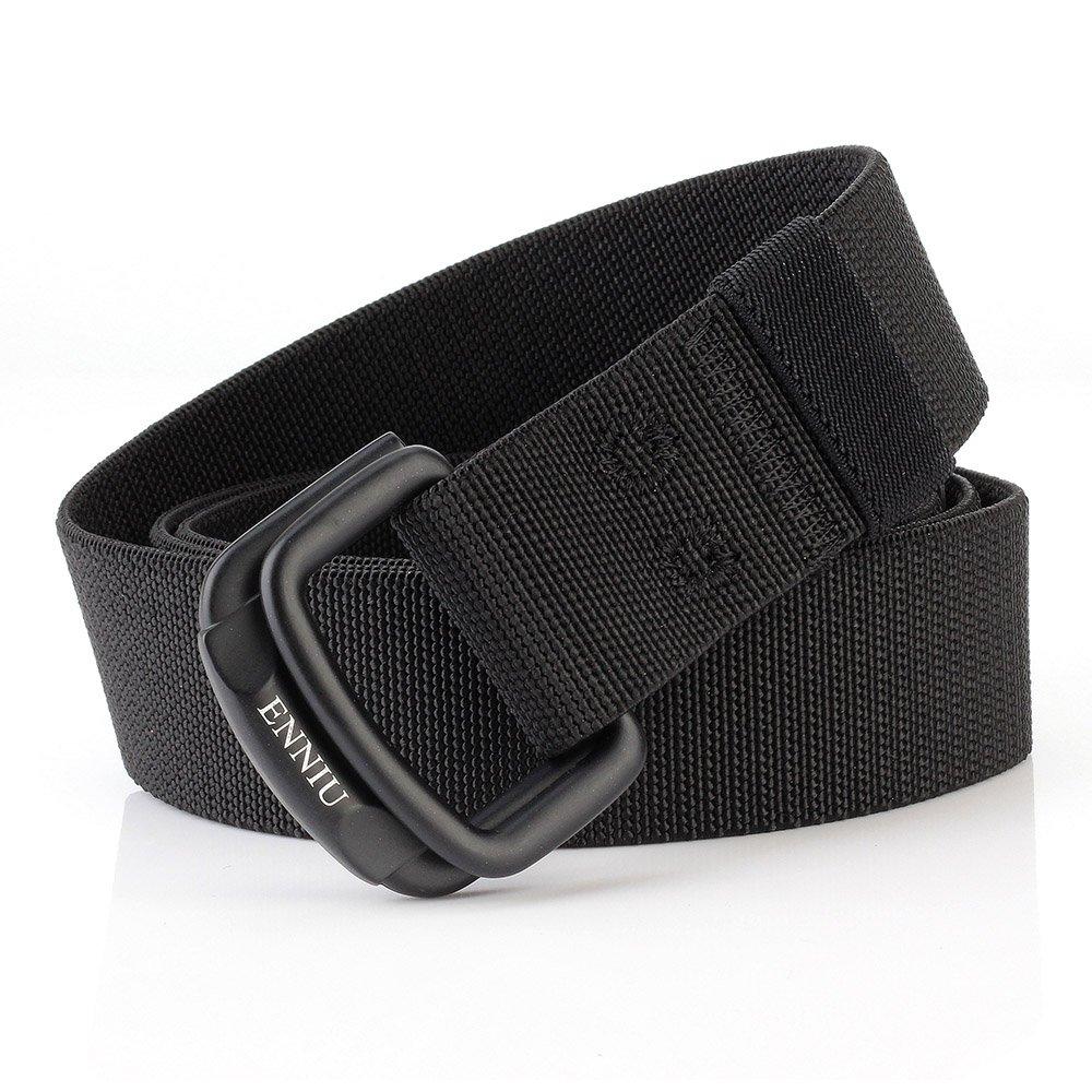 ITIEZY Nylon Hombre Cinturones D-ring Hebilla Metal y Caja De Regalo Negra Elegante Como Regalo Tactico Cinturon