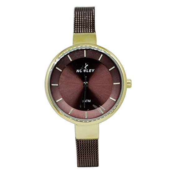 Reloj mujer, marca Nowley, caja en acero chapado, malla y esfera en color chocolate, numero en dorado: Amazon.es: Relojes