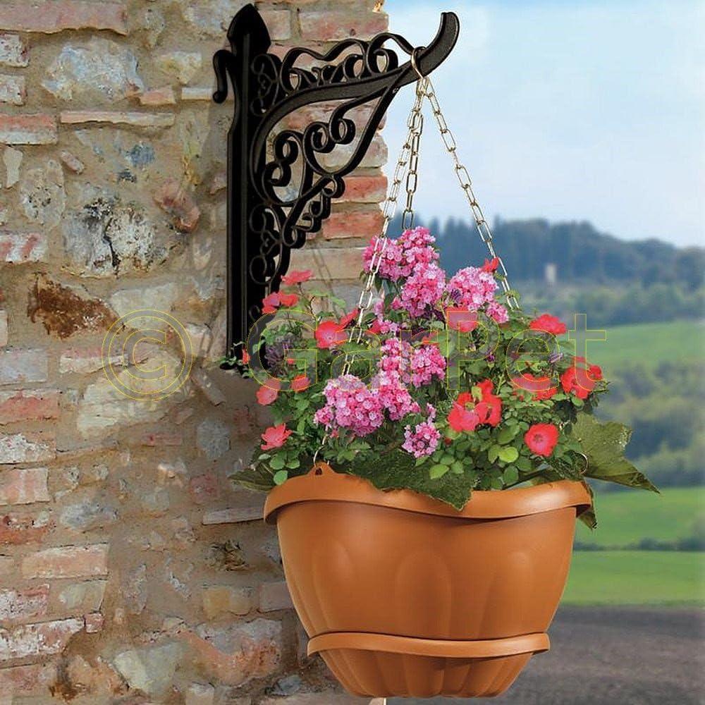 Pflanzenampel Blumenampel H/ängeampel mit Kette und Wand Halterung Wasserspeicher Grau