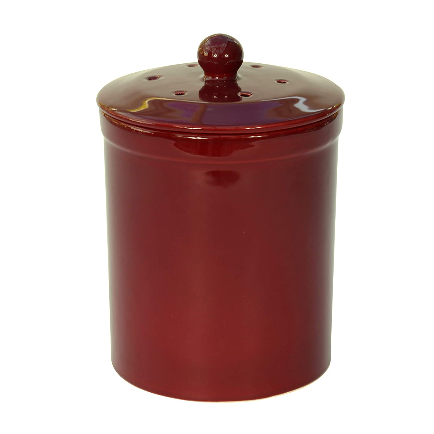 Burgundy Ceramic Compost Caddy - Melbury Kitchen Ceramic Compost Bin for Food Waste Recycling The Caddy Company