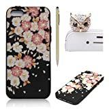 SKYXD iPhone SE 5S 5 Silicone Case,Vintage Floral Flower Collection Soft Gel TPU Skin Protective Bumper Black Background Red white Flowers Design Cover For iPhone SE 5S 5 + 1 x Touch Screen Stylus + 1 x Dust Plug