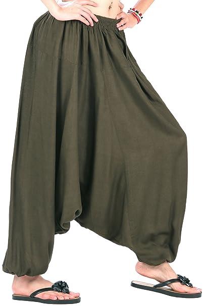 2599980761 CandyHusky Men Women Summer Aladdin Hippie Boho Harem Pants Costume One Size  (Dark Olive Green