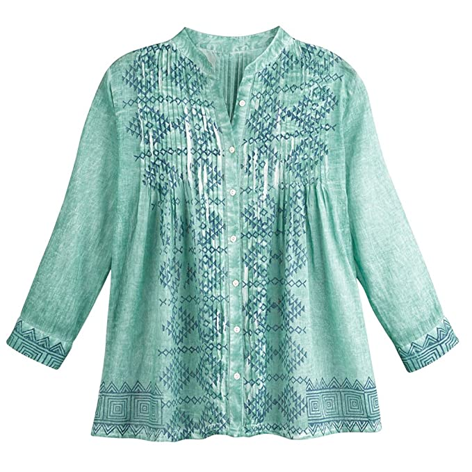 Women s Green Meadow Matching Shirt and Scarf Set - Button Down Top - Small c0bbd6a2a