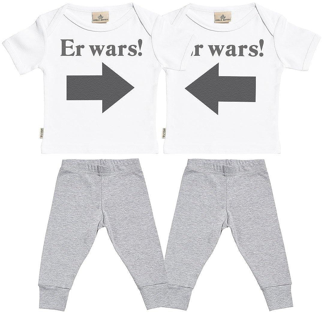 Spoilt Rotten SR Baby Zwillinge T Shirt /& Baby Zwillinge Hosen Baby Zwillinge Outfit Er Wars Baby Zwillinge Set Baby T-Shirt /& Schwarz Baby Jerseyhose Er Wars