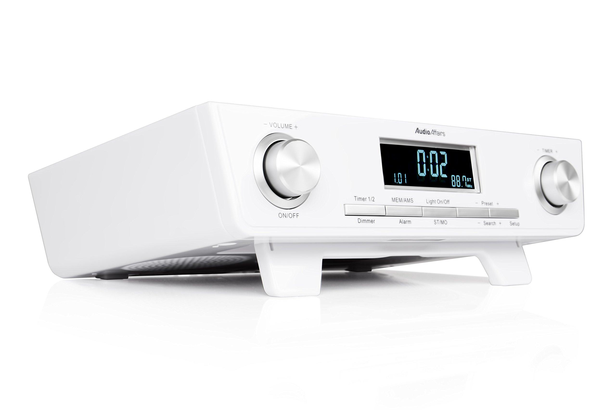 AudioAffairs KR 010 WH UKW FM Unterbau-Radio Küchenunterbauradio mit LED Licht, Unterschrank-Küchenradio und Back-Timer, Eieruhr weiß product image
