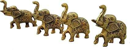 Trendy Crafts� Weekend Sale- Trunk up Elephant Statues Set of 4 - Showpiece Metal Statue - Lucky Figurine- Home D�cor Gifts Item �