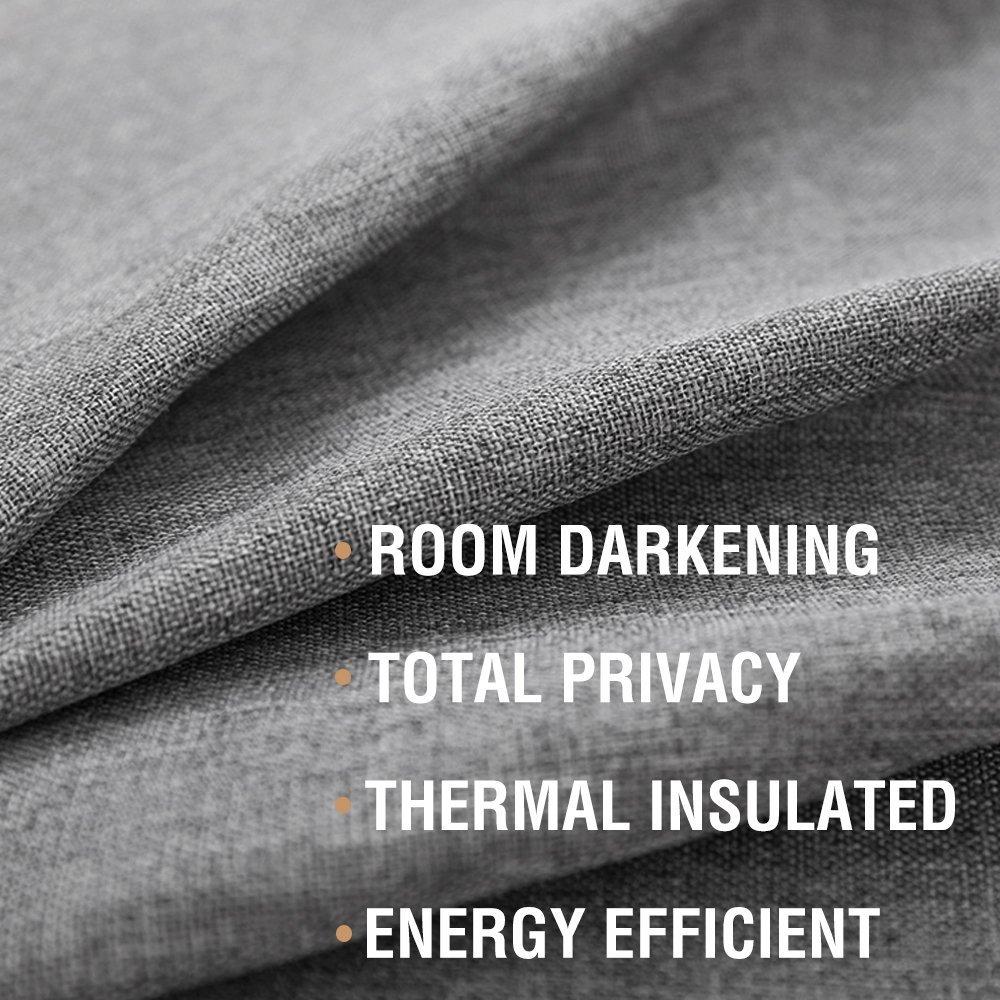 Room Darkening Blackout Curtains Bedroom 95 Inch Grey