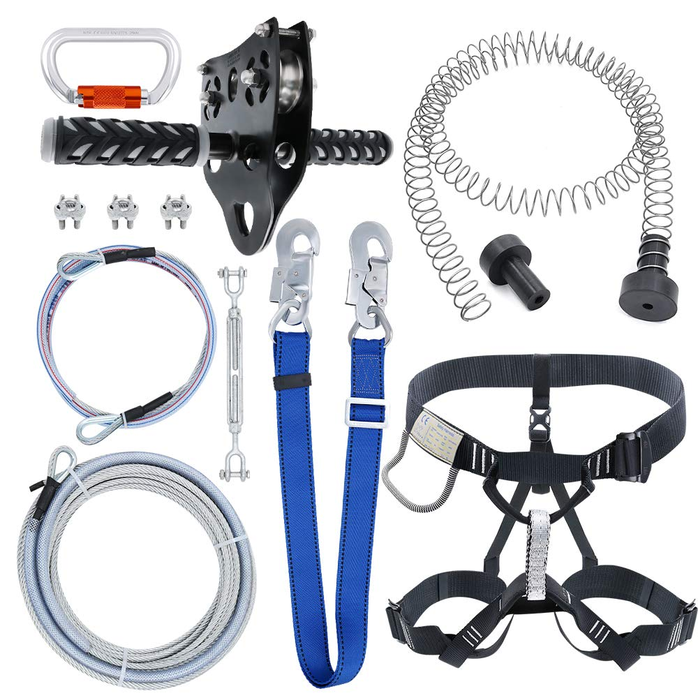 98 Feet Zip Line Kit for Kids and Adult Up to 350 lb with Zipline Spring Brake and Safety Harness, Zip line Trolley with Handle for Backyard Playground Entertainment by Zixar