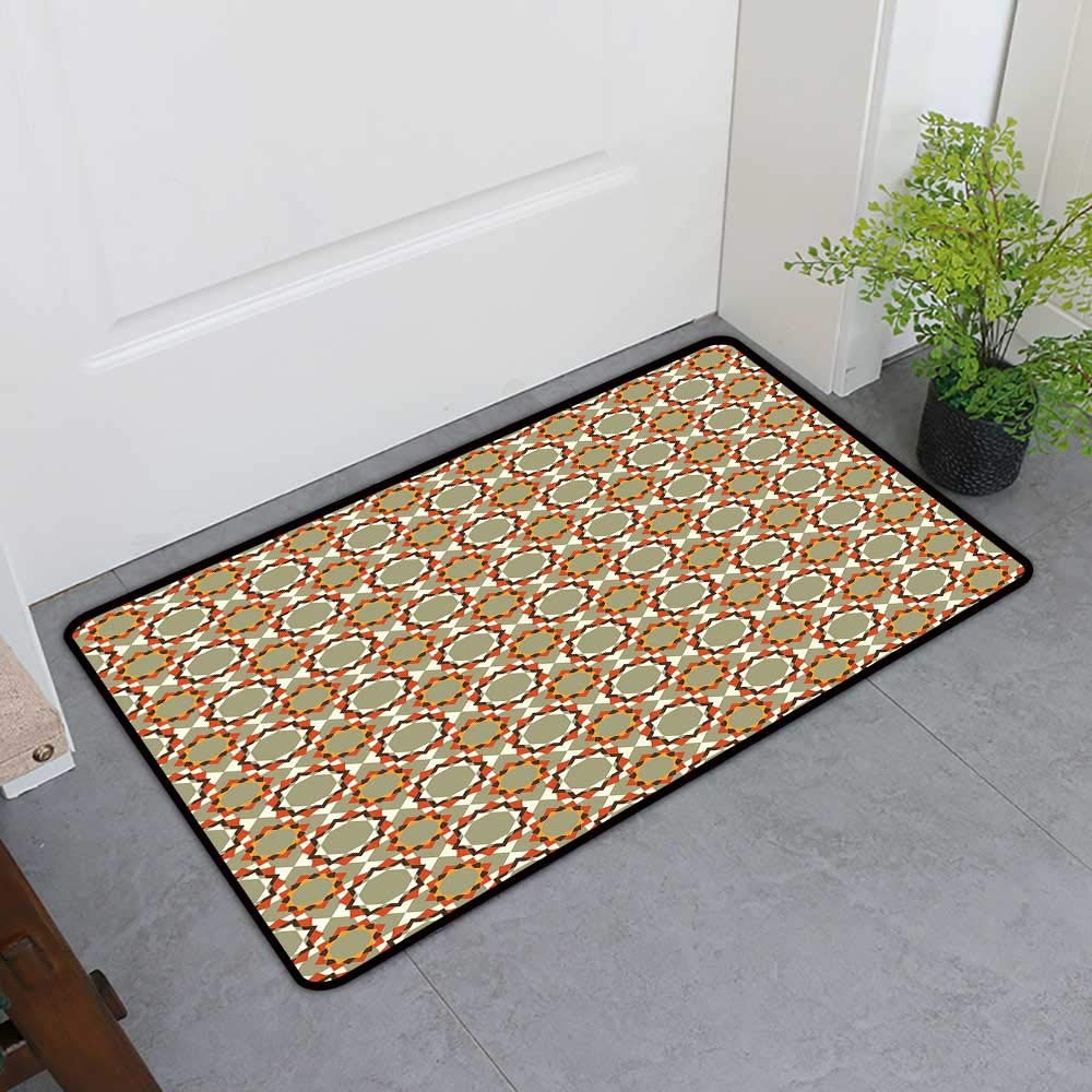 TableCovers&Home Commercial Door Mat, Geometric Decorative Rugs for Kitchen, Floral Pattern with Abstract Geometric Element Hexagons Surreal Blossoming Nature (Multicolor, H32 x W48)