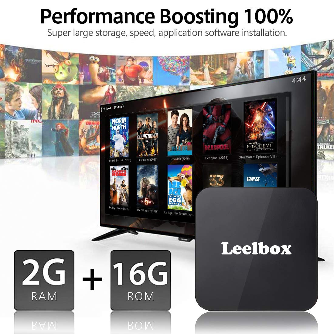 Android 8.1 TV Box, 2018 Leelbox Q2 Android Box Quad Core with 2GB RAM 16GB ROM, 2.4G Voice Remote Control Included, Support WiFi/3D/4K/H.265 by Leelbox (Image #4)