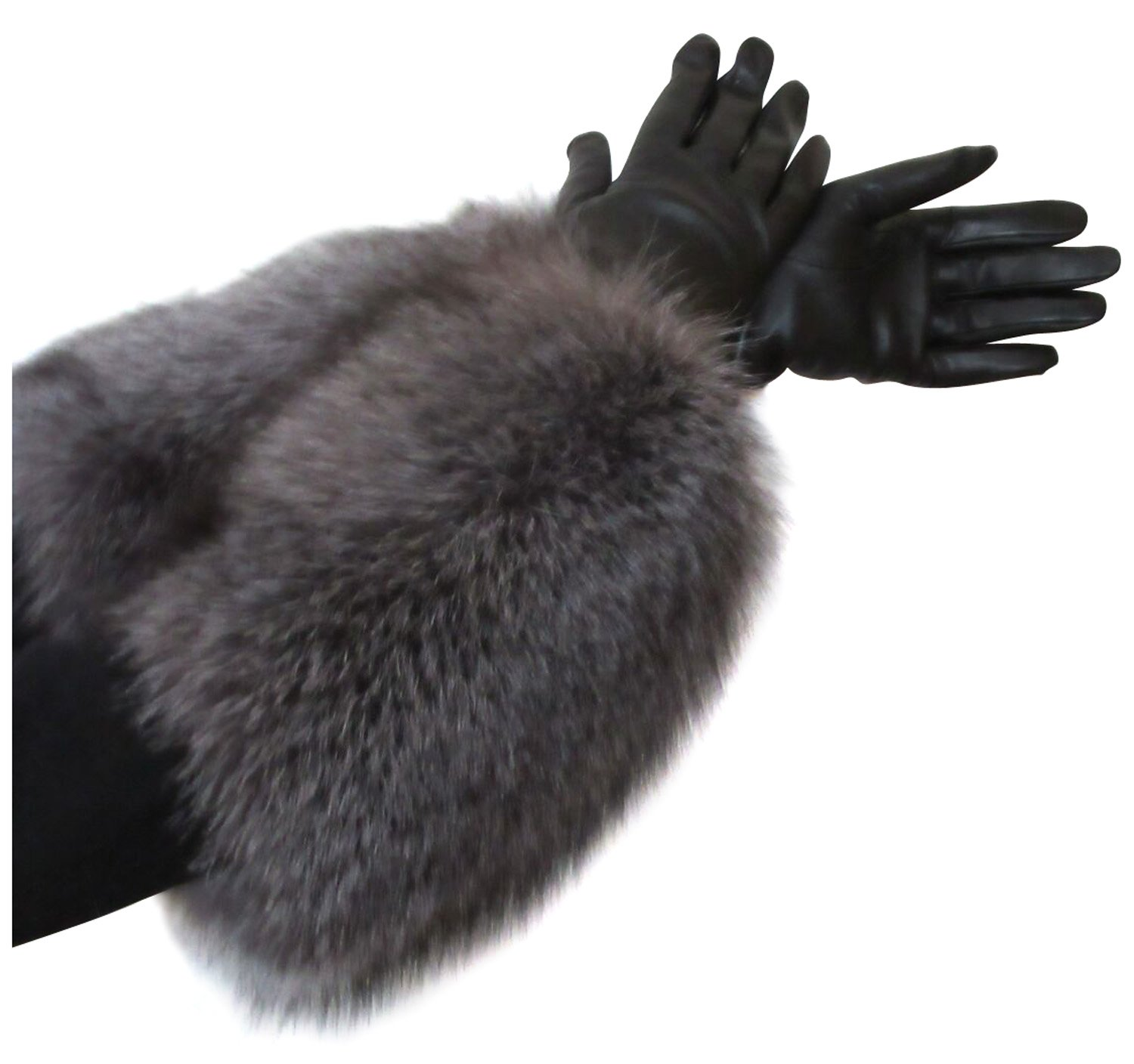 Black Cashmere Lined Leather Gloves Extended to Opera Length by Indigo Fox Cuffs 7.5 by FursNewYork (Image #3)