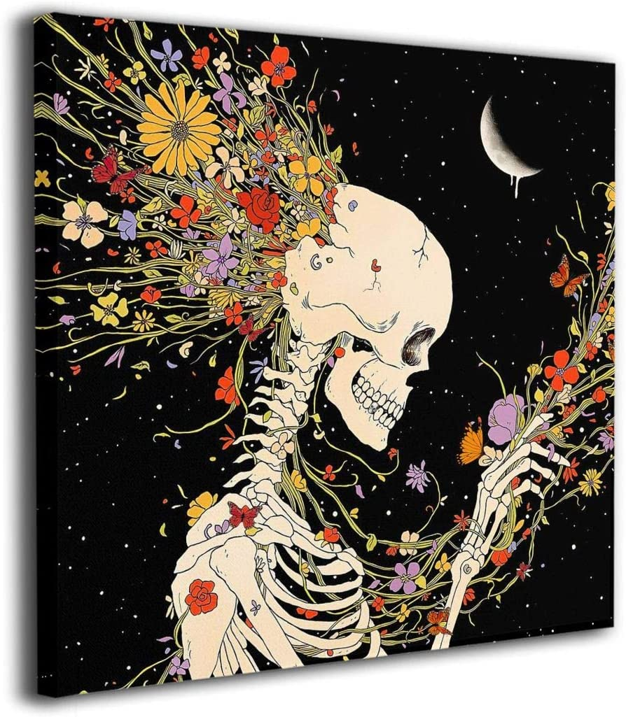 BLOOM SOMEWHERE Canvas Wall Art Flowers And Skeleton Artwork Elegant Hippie Psychedelic Human Skull Decor Romantic Vintage Art Painting For Bedroom Living Room Wrapped Steampunk Print 12X12 inches