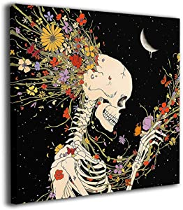 BLOOM SOMEWHERE Canvas Wall Art Flowers And Skeleton Artwork Elegant Hippie Psychedelic Human Skull Decor Romantic Vintage Art Painting For Bedroom Living Room Wrapped Steampunk Print 20X20 inches